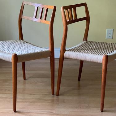 EIGHT Moller Model #79 Dining Side Chairs in teak and new Danish Cord, set of eight by ASISisNOTgoodENOUGH