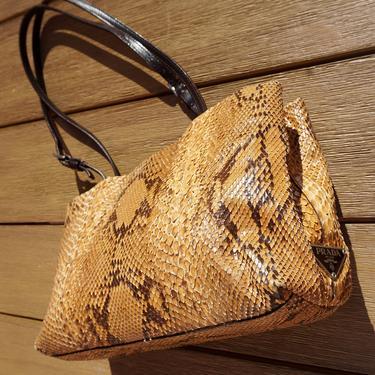PRADA 1990s Vintage Snakeskin Leather Shoulder Bag with Logo Snake Print Mini Hobo Y2K Minimal by backroomclothing