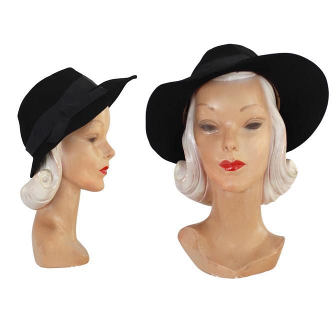 PRISTINE 1940s Black Fedora - 1940s Womens Fedora - 1940s Black Fedora - 1940s Fedora - Vintage Black Fedora - 1940s Black Hat - 40s Fedora by VeraciousVintageCo