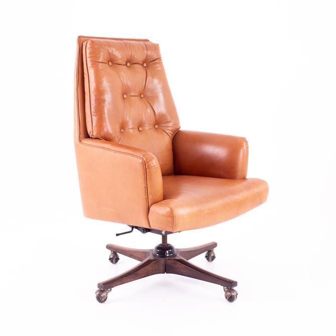Edward Wormley For Dunbar Style Mid Century Leather Orange Desk Chair - mcm by ModernHill