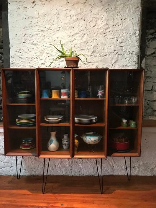 Mid century china cabinet mid century bookshelf mid century curio cabinet by VintaDelphia