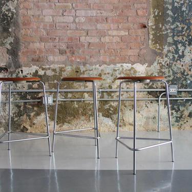 Set Of 3 Counter Height Stools in Teak by Arne Jacobsen for Fritz Hansen Denmark