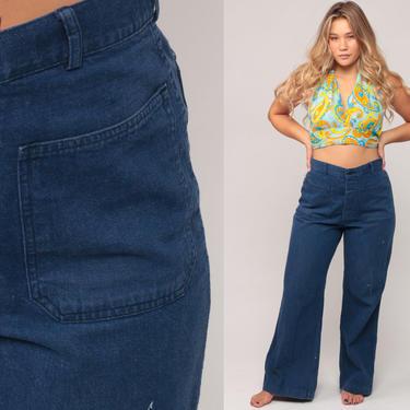 Bell Bottoms Jeans High Waisted 70s WIDE LEG Denim Pants Boho Hippie Sailor 1970s Vintage Bohemian Blue Jean Flared medium 10 by ShopExile