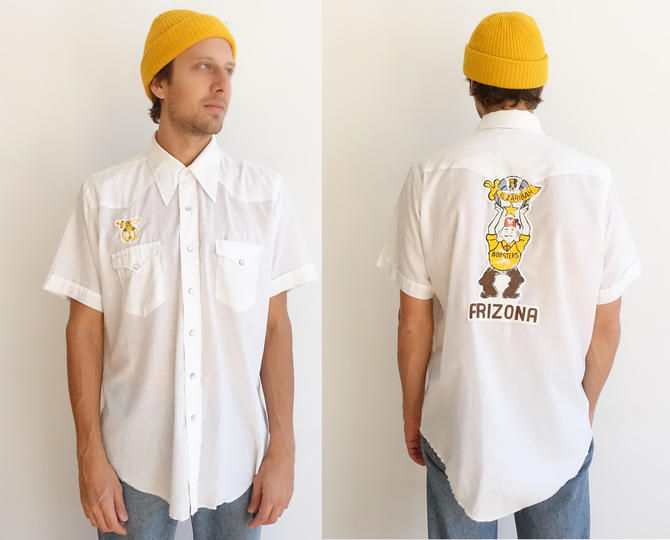 Vintage 70s Arizona Shriners Wrangler Western Shirt/ 1970s Masonic Uniform Bowling Shirt/x large by bottleofbread