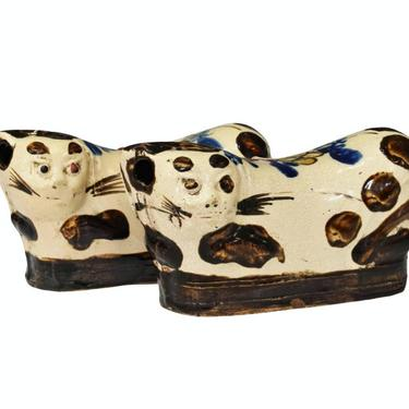 Qing Dynasty Chinese Glazed Ceramic Figural Cat Pillow Pair - 19th Century Antique Asian Folk Art by RabidRabbitAntiques