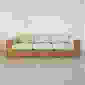 1970s Oak and Sage Green Case Sofa