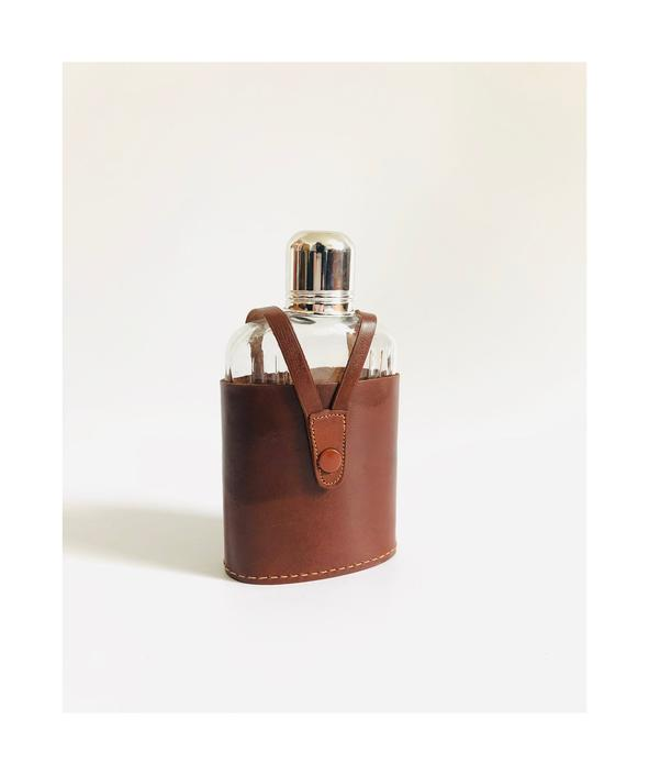 Vintage Glass Flask in Leather Holder by SergeantSailor