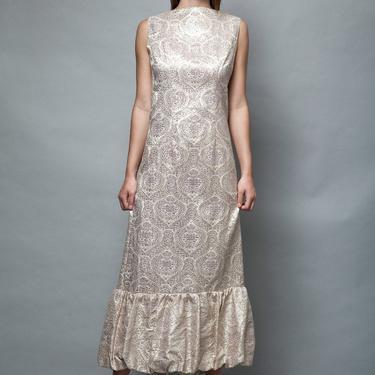 gold maxi dress gown vintage 1960s metallic damask sleeveless bubble hem S M small / medium by shoprabbithole