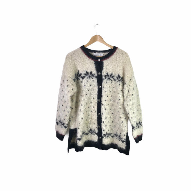Vintage Mohair Wool Blend Snowflake Cardigan Sweater, Size Small by Northforkvintageshop