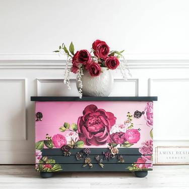 Bench. Floral Bench. Nursery Decor. Spring Bench. Country Bench. Roses. Flower Bench. Entryway Bench. Foyer Bench by AminiDesignAshburn