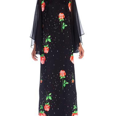 1970S Black Polyester Jersey Rose Print Maxi Dress W/ Chiffon Bell Sleeves & Cape, XL by SHOPMORPHEW