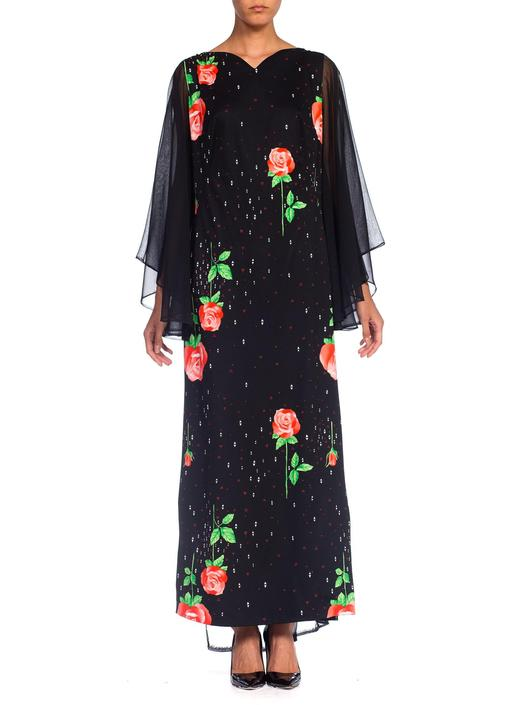 1970S Black Polyester Jersey Rose Print Maxi Dress W/ Chiffon Bell Sleeves & Cape, XL by SHOPMORPHEW