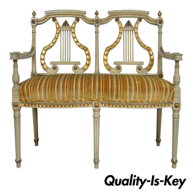 French Louis XVI Neoclassical Style Lyre Harp Back Gold and Cream Settee Bench