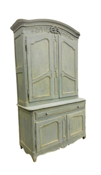 French Antique Deux Corp Painted Cabinet - 18th C