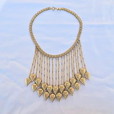 Vintage 1940's Gold Necklace Choker Bib with Dangling Leaves Book Chain 40's Jewelry by seekcollect