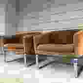 Midcentury Milo Baughman Style Cube Chair Pair