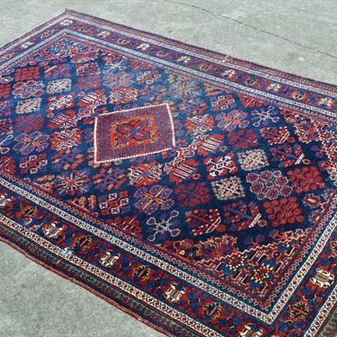 """Vintage Hand Knotted Distressed Wool Persian Style Josheghan Area Rug in Navy and Red  -  4' 4""""  x  6' 7"""""""" by SourcedModern"""