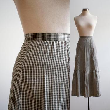 Vintage 1940s Gingham Skirt / Vintage Soft Cotton Farm Skirt / 1940s Long Skirt / Black and White Gingham Skirt / Victorian Style Skirt by milkandice