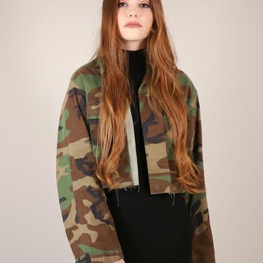 Vtg Cropped Army Camouflage Cut - Off Jacket / Camo Fatigues Shirt w Patch / Women's XL by AmericanDrifter