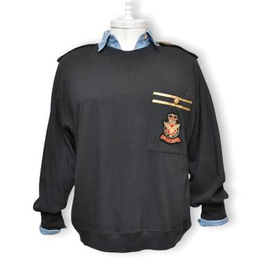 Vintage Black Sweatshirt with Gold Epaulettes and Crest Design Military Style by TheUnapologeticSoul