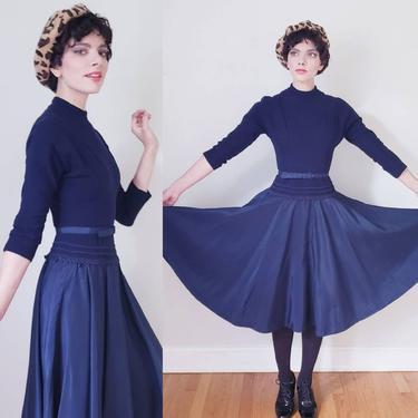1950s Navy Blue Dress Wool Blend Top Taffeta Skirt / 50s Day Dress Three-Quarters Sleeves Full Circle Skirt / Small by RareJuleVintage