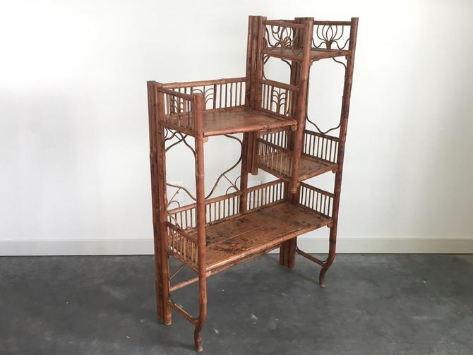 antique Victorian era folding bamboo shelf.