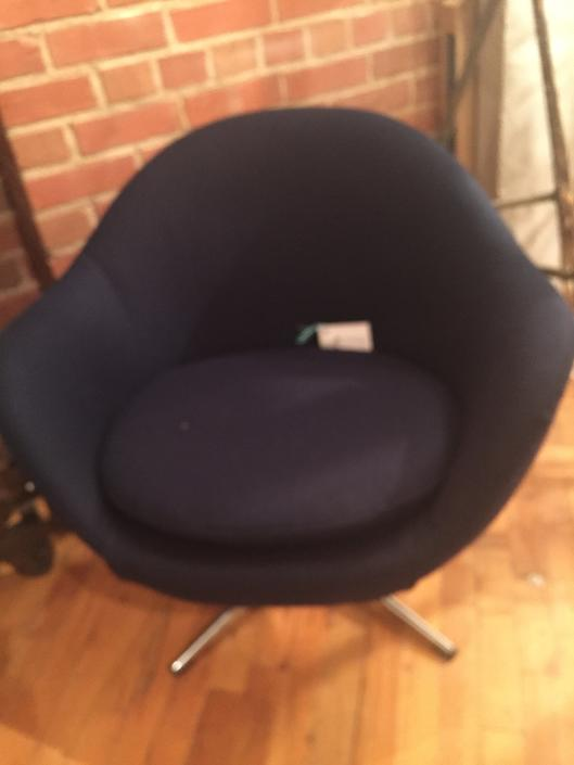 SOLD - Mid Century wool upholstered swivel chair w/ chrome base