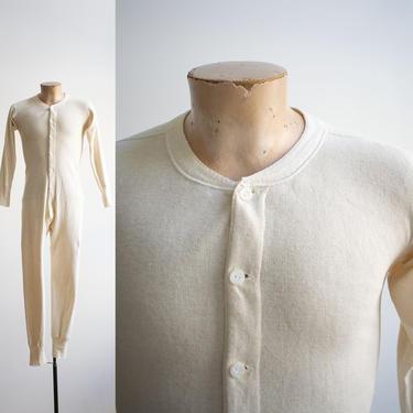 Vintage Long Underwear / Vintage Pilgrim Union Suit / Cotton Knit Long Underwear / Cotton Union Suit / Vintage Pajamas / Long Underwear 38 by milkandice