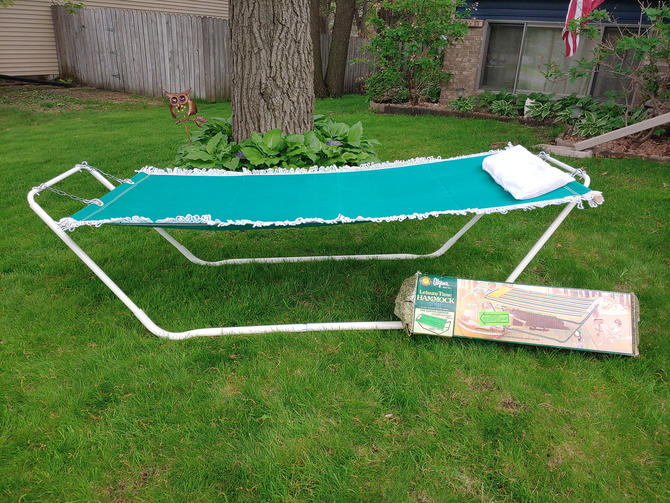 Vintage NOS New Old Stock Algoma Green Fringed Outdoor Hammock with Stand and Pillow by RedsRustyRelics