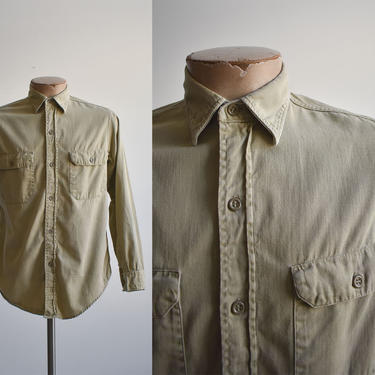 Vintage Tan Penneys Button Down Shirt by milkandice
