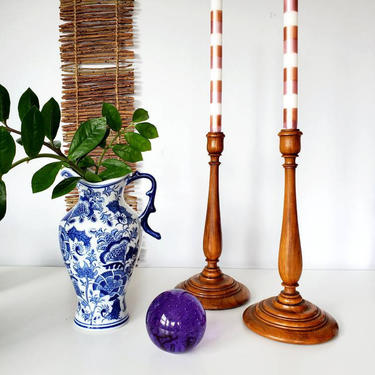 Vintage Turned Wood Tall Candlestick Holder Set by pennyportland