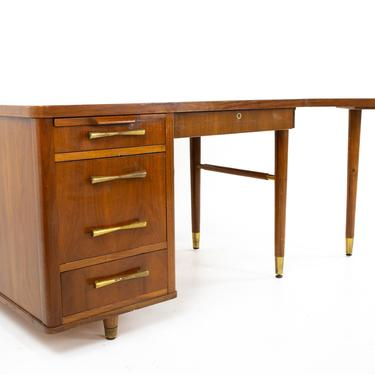 Stow Davis Mid Century Walnut and Brass Boomerang Desk - mcm by ModernHill