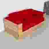 1970s Studio Craft Oak Case Sofa in Red Wool