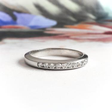 Art Deco Wedding Band .20ct t.w. Antique Vintage 1930's Diamond Channel Set Stacking Anniversary Ring Platinum by YourJewelryFinder