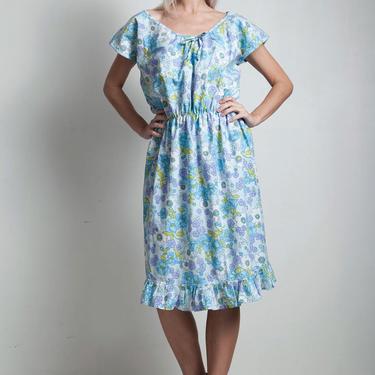 vintage 70s summer dress blue floral cotton pleated hem elastic waist LARGE EXTRA Large L XL by shoprabbithole