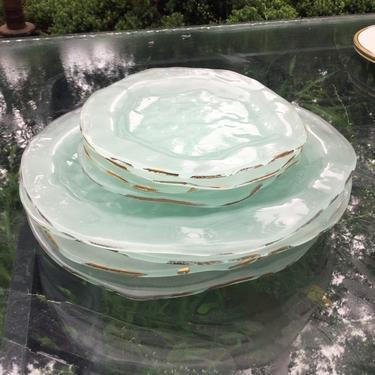 Annieglass plates 1990s set dinner salad organic Annie Glass shell by BrainWashington