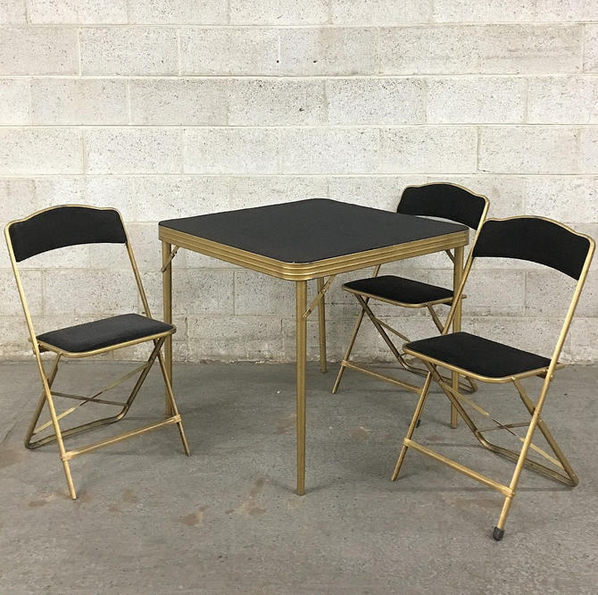 LOCAL PICKUP ONLY ———— Vintage Folding Table + Chairs by RetrospectVintage215
