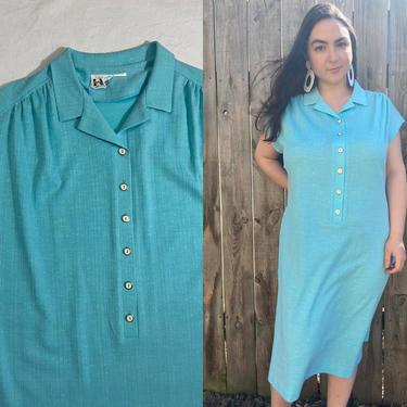 Vintage 60s/70s Shirtdress   Light Blue Textured Knit Collared Button Front Shift Dress, Cap Sleeve Mod Dress, XL 2X   Marty Gutmacher by noisyeyevintage