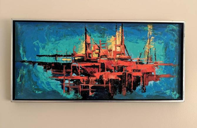 Abstract Oil Seascape Ship Painting on Board by Michael Labonski by EimModern