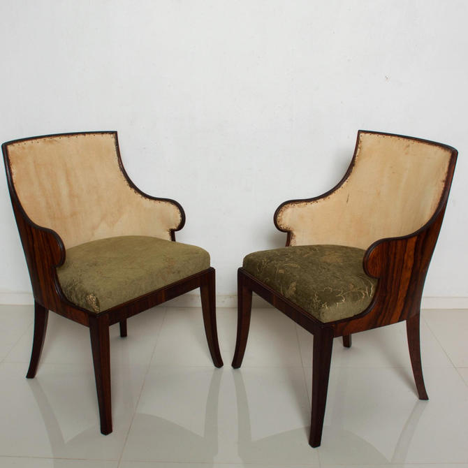 Pair of French Art Deco Rosewood Barrel Back Tub Arm Chairs after Gilbert Rohde by AMBIANIC