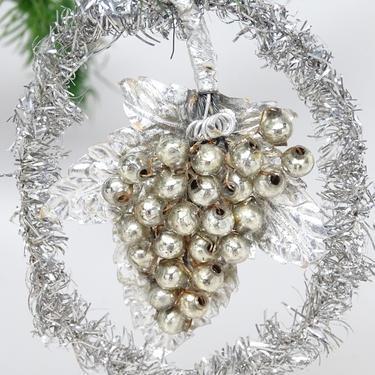 Antique Mercury Glass Grape Cluster on Silver Foil Leaf in Tinsel Wreath Christmas Ornament, Vintage Retro Decor by exploremag