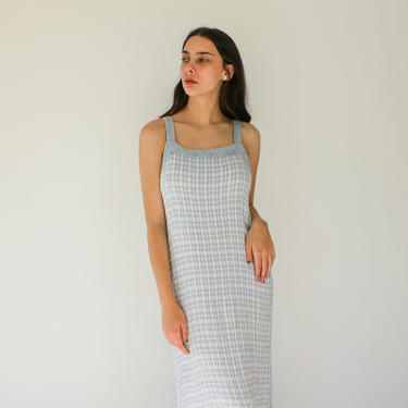 Vintage 90s Powder Blue Gingham Bohemian Rayon Maxi Summer Dress | Made in USA | Floral Embroidered Trim | 1990s Rayon Grunge Era Maxi Dress by TheVault1969