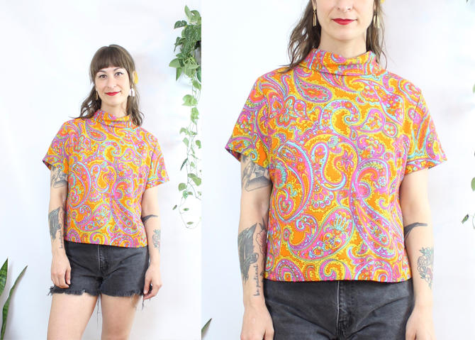 Vintage 60's Paisley Blouse / 1960's Psychedelic Top / Mock Neck / Women's Size Medium Large by RubyThreadsVintage