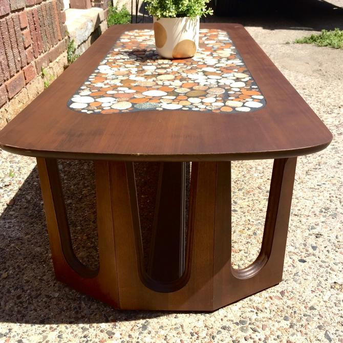Mid-Century Coffee Table w/ Mosaic Stone Inlay