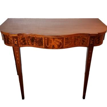 Nathan Magolis Handcrafted Hepplewhite Mahogany Inlaid Marquetry Console Table - Circa 1960 Connecticut, America by LynxHollowAntiques