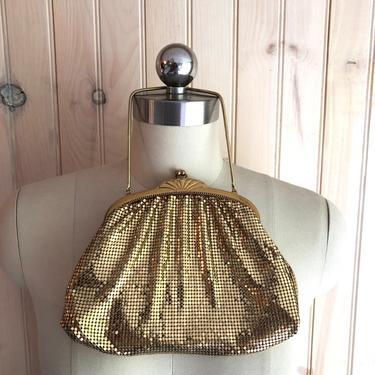 vintage WHITING & DAVIS gold mesh evening bag purse wristlet clutch 1940s by ritualvintage