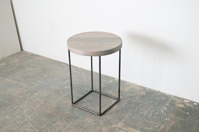 Crescent Side Table - Solid Oxidized Maple with Blackened Steel Base by dylangrey