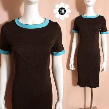 Slinky Vintage 60s 70s Dark Brown Nylon Stretch Dress with Blue Trim - AS IS by RETMOD