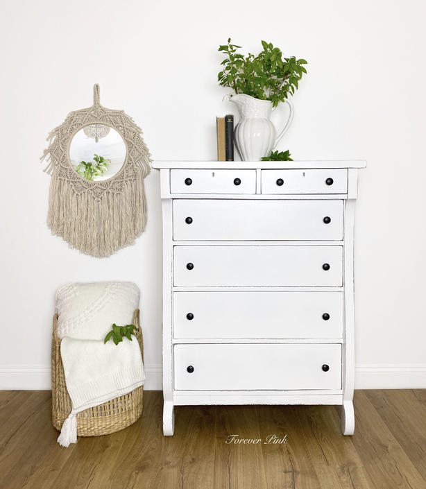 NEW - Vintage Empire White Chest of Drawers, Farmhouse Dresser with Black Hardware by ForeverPinkVintage