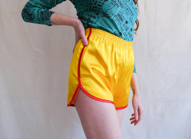 Vintage 70s Yellow Satin Roller Girl Shorts/ 1970s High Waisted Velva Sheen Yellow Red Athletic Hot Shorts/ Size XS by bottleofbread